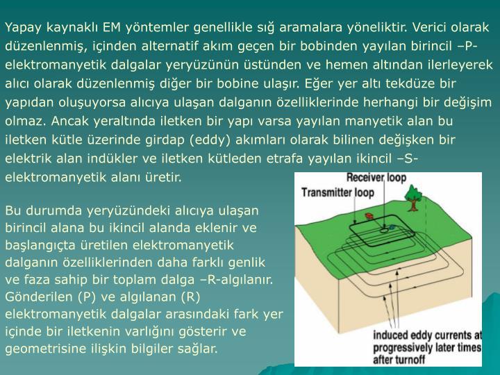 Yapay kaynaklı EM yöntemler genellikle sığ aramalara yöneliktir. Verici olarak düzenlenmiş, içinden alternatif akım geçen bir bobinden yayılan birincil –P-elektromanyetik dalgalar yeryüzünün üstünden ve hemen altından ilerleyerek alıcı olarak düzenlenmiş diğer bir bobine ulaşır. Eğer yer altı tekdüze bir yapıdan oluşuyorsa alıcıya ulaşan dalganın özelliklerinde herhangi bir değişim olmaz. Ancak yeraltında iletken bir yapı varsa yayılan manyetik alan bu iletken kütle üzerinde girdap (eddy) akımları olarak bilinen değişken bir elektrik alan indükler ve iletken kütleden etrafa yayılan ikincil –S-elektromanyetik alanı üretir.