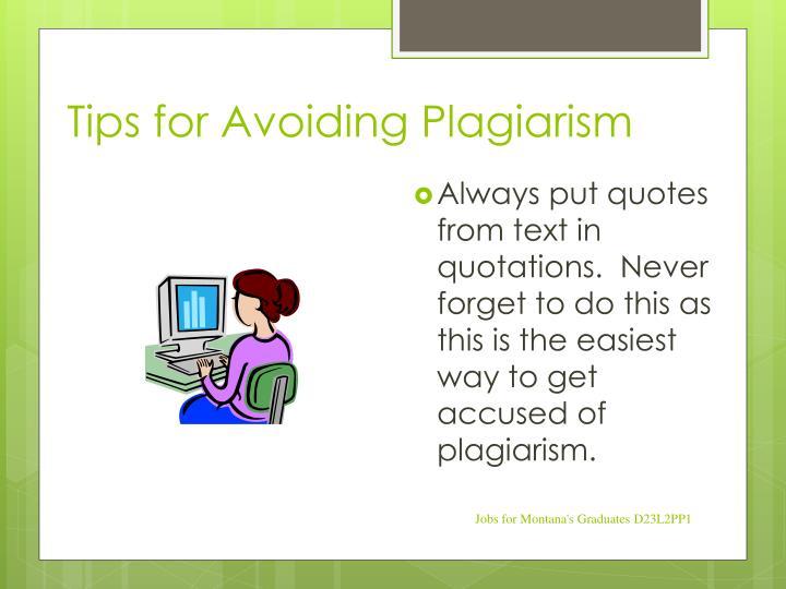 Tips for Avoiding Plagiarism
