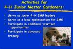 activities for 4 h junior master gardeners