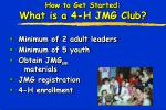 how to get started what is a 4 h jmg club