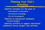 planning your club s activities