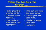 things you can do in the program