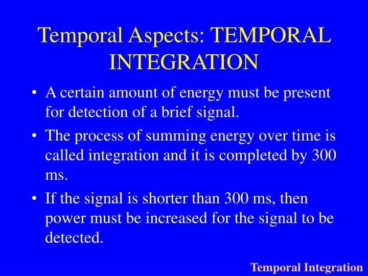 Temporal Aspects: TEMPORAL INTEGRATION