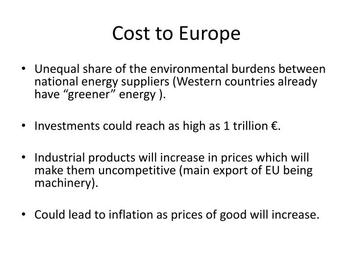 Cost to Europe