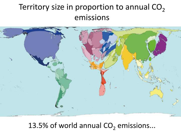 Territory size in proportion to annual CO