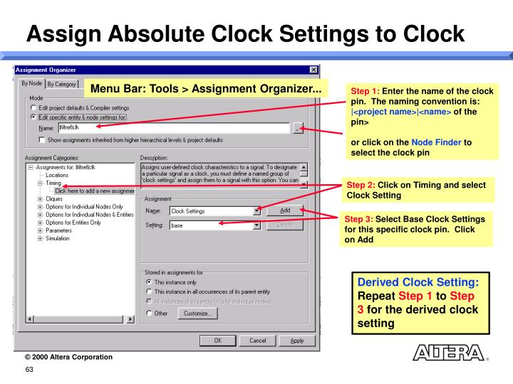 Assign Absolute Clock Settings to Clock