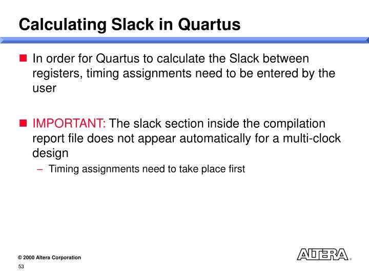 Calculating Slack in Quartus