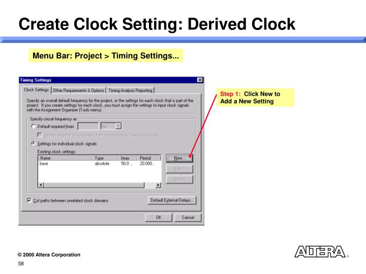 Create Clock Setting: Derived Clock