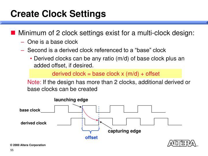 Create Clock Settings