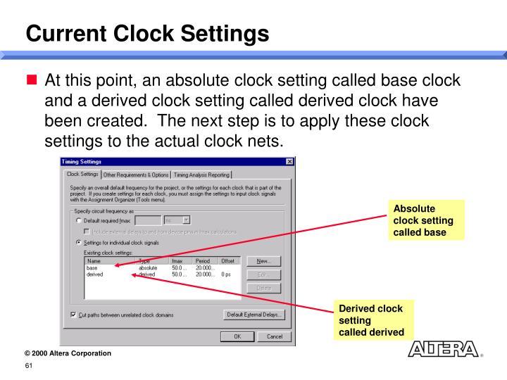 Current Clock Settings