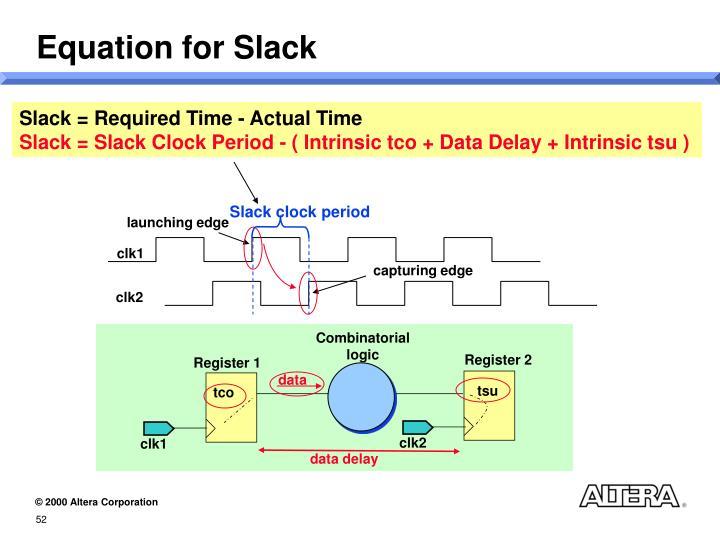 Equation for Slack