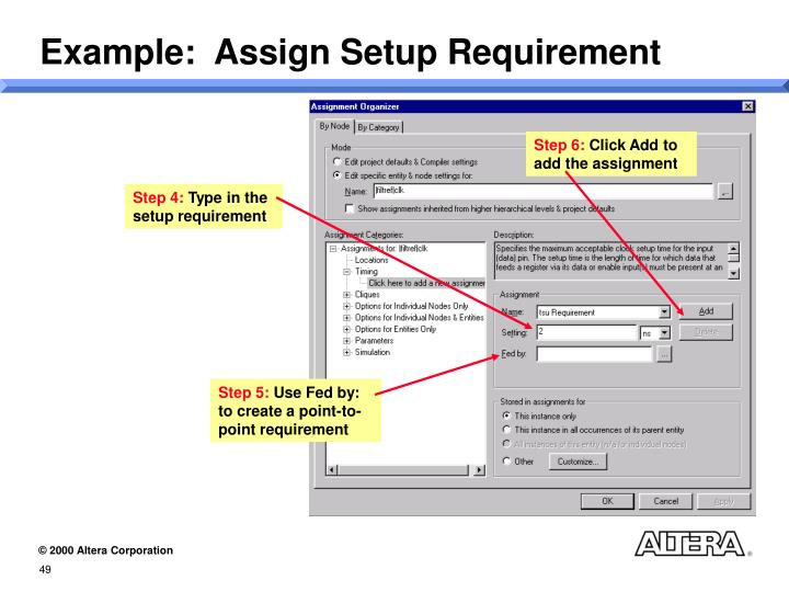 Example:  Assign Setup Requirement