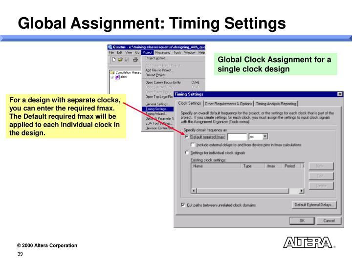 Global Assignment: Timing Settings