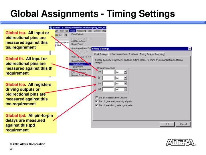 Global Assignments - Timing Settings