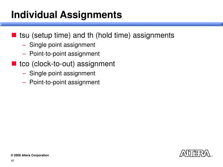 Individual Assignments