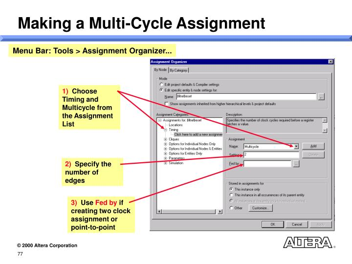 Making a Multi-Cycle Assignment