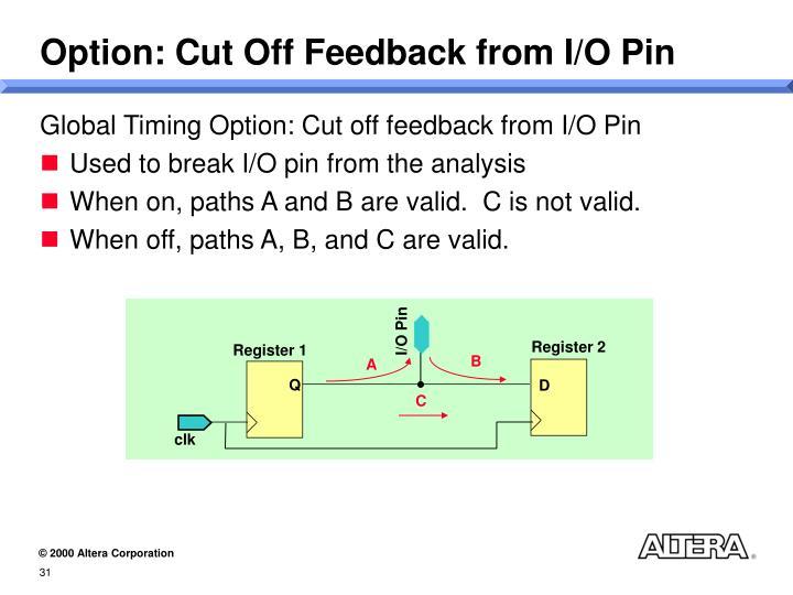Option: Cut Off Feedback from I/O Pin