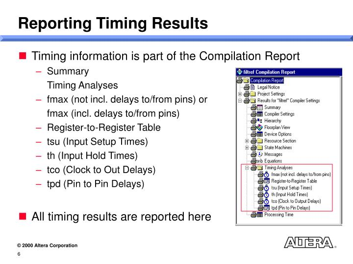 Reporting Timing Results