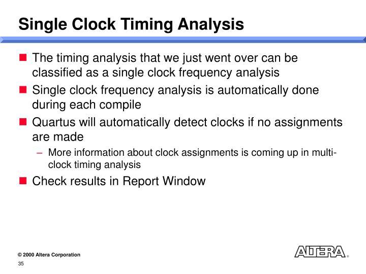 Single Clock Timing Analysis
