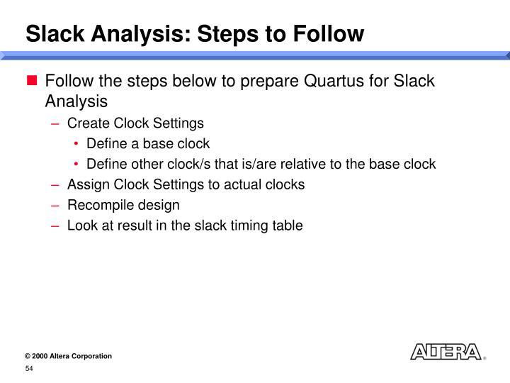 Slack Analysis: Steps to Follow