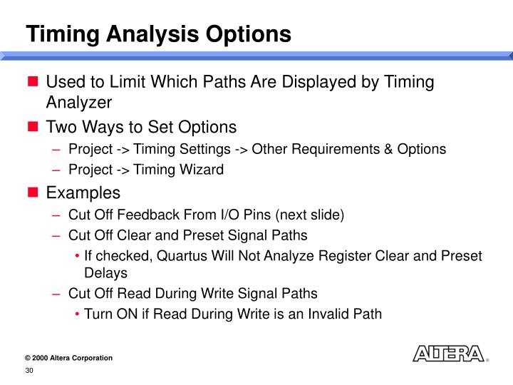 Timing Analysis Options