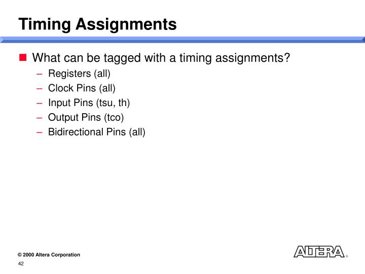 Timing Assignments