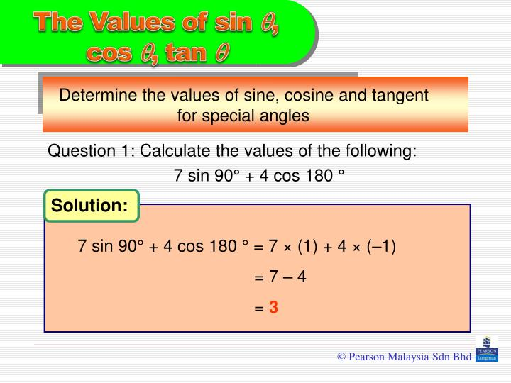 Question 1: Calculate the values of the following: