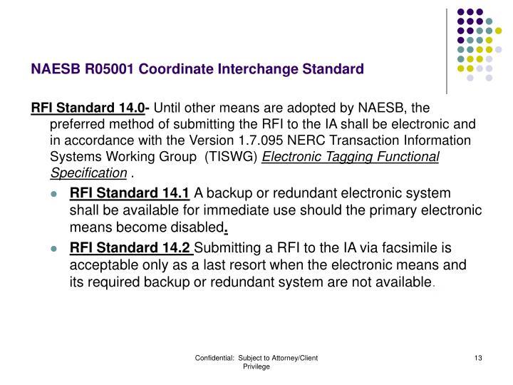 NAESB R05001 Coordinate Interchange Standard