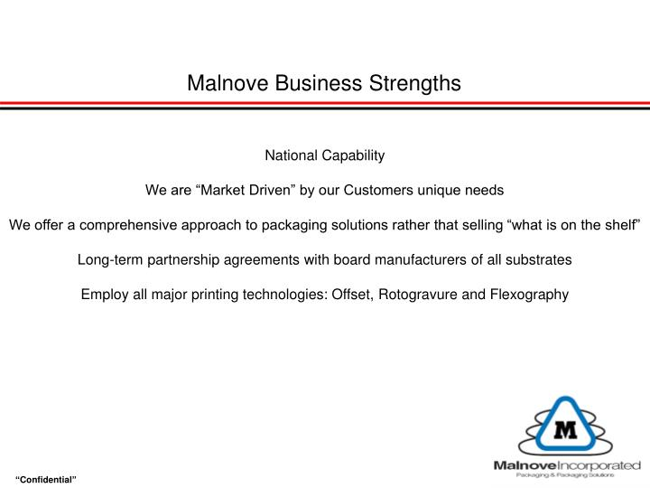 Malnove Business Strengths
