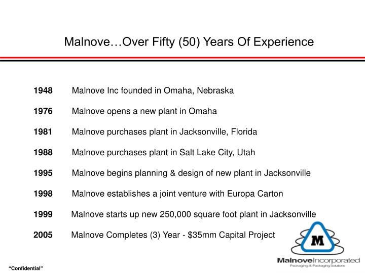 Malnove…Over Fifty (50) Years Of Experience