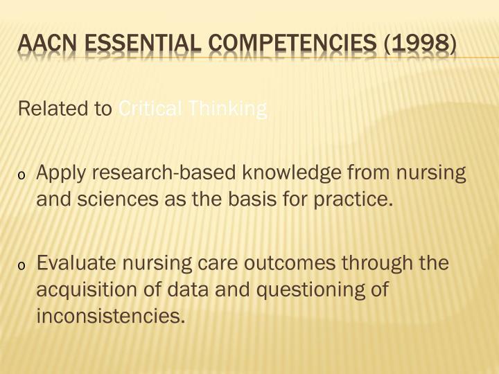 AACN Essential Competencies (1998)