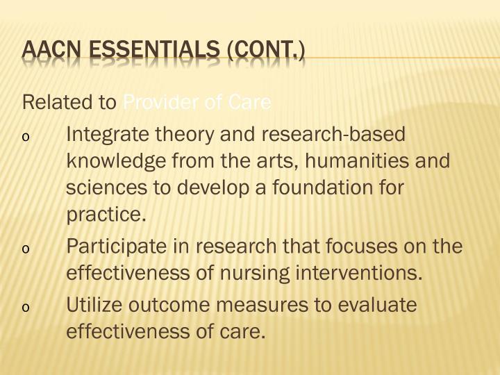 AACN essentials (cont.)