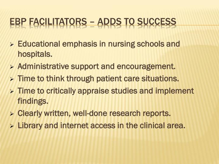 EBP Facilitators – Adds to success