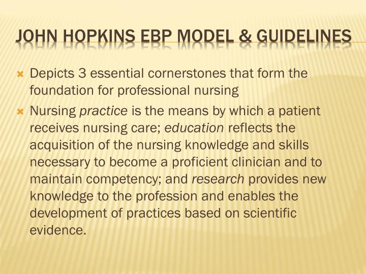 Depicts 3 essential cornerstones that form the foundation for professional nursing