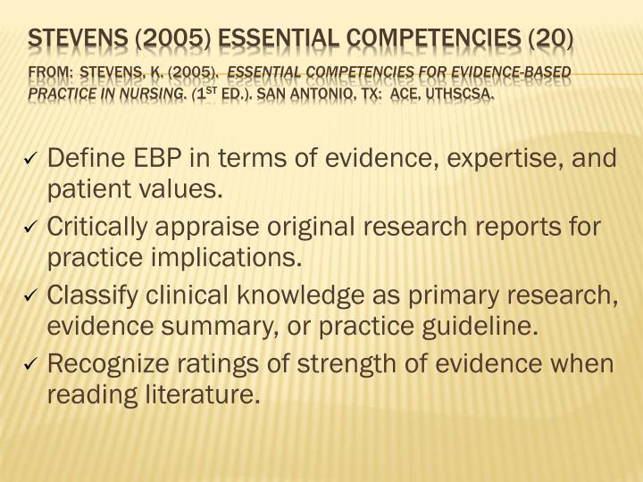 Stevens (2005) Essential Competencies (20)