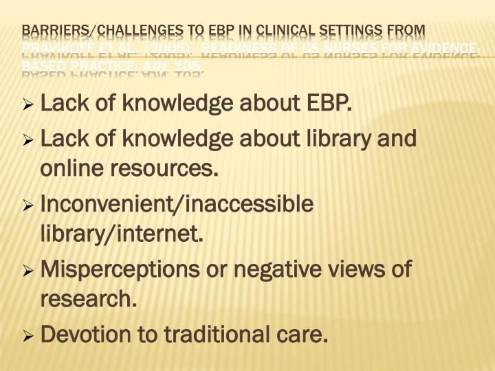 Barriers/Challenges to EBP in Clinical Settings from