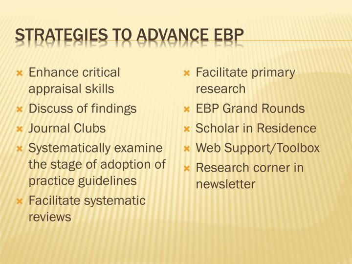 Strategies to advance