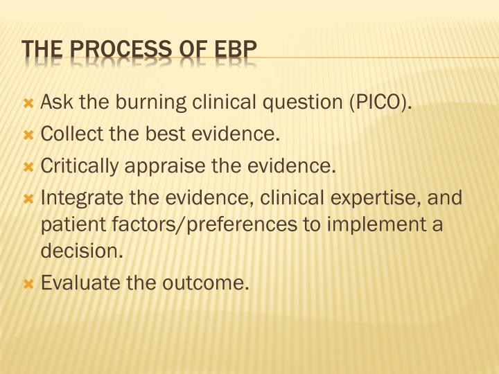 Ask the burning clinical question (PICO).
