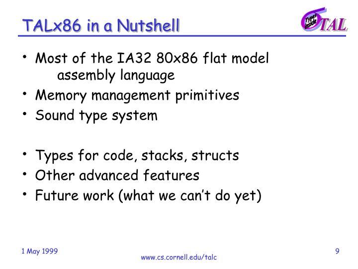 TALx86 in a Nutshell
