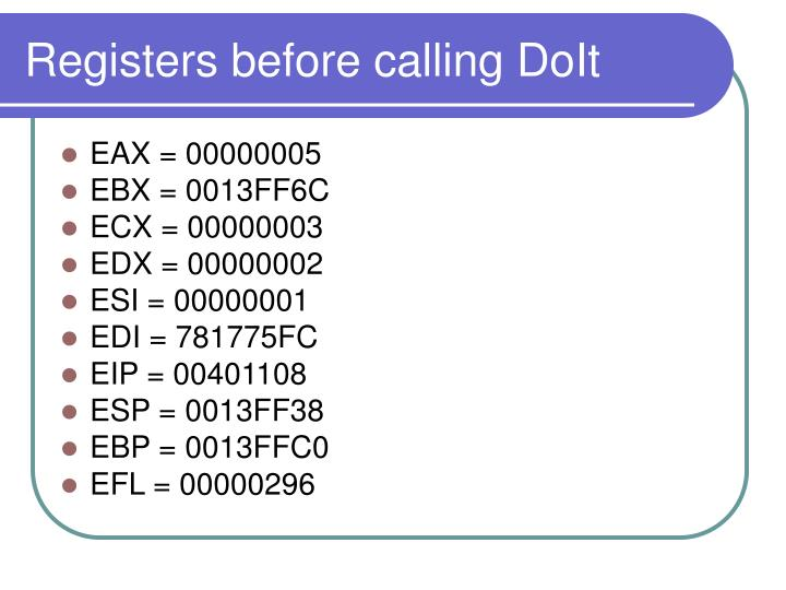 Registers before calling DoIt