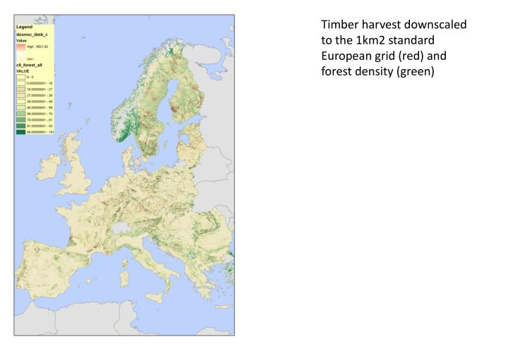 Timber harvest downscaled to the 1km2 standard European grid (red) and forest density (green)