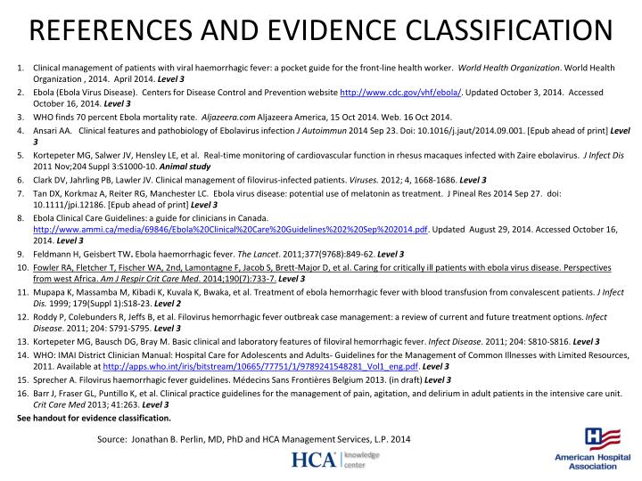 REFERENCES AND EVIDENCE CLASSIFICATION