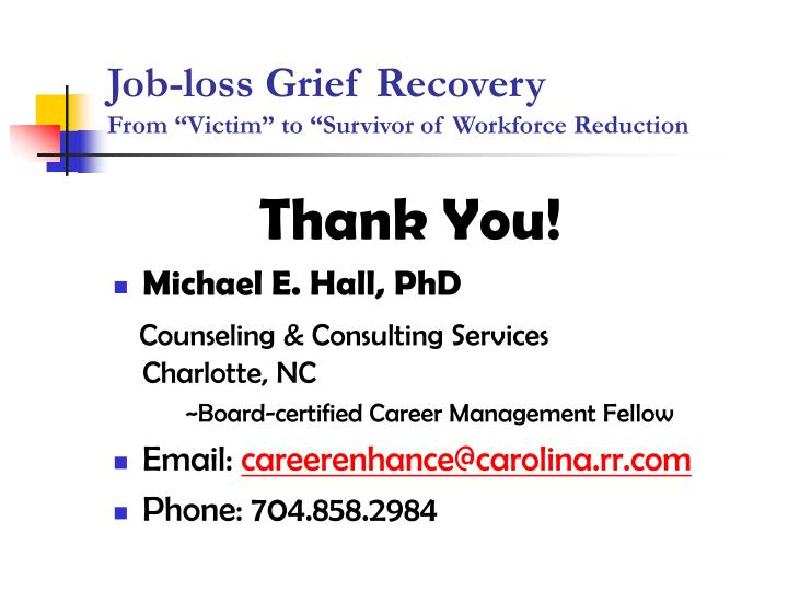 Job-loss Grief Recovery