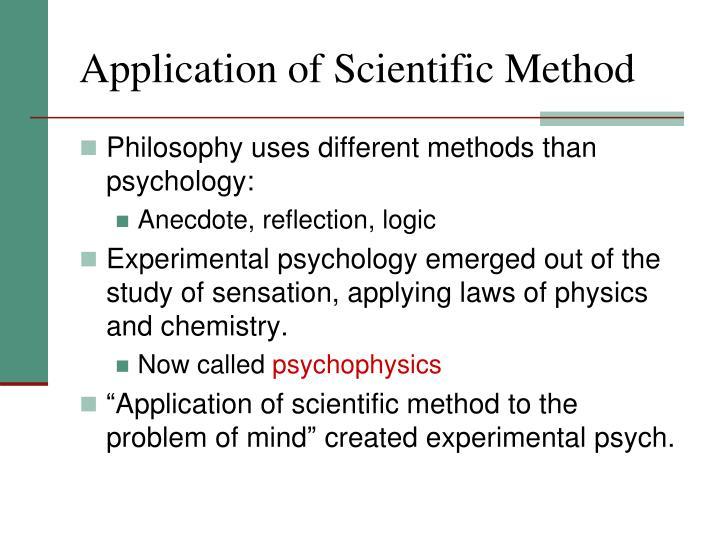 Application of Scientific Method