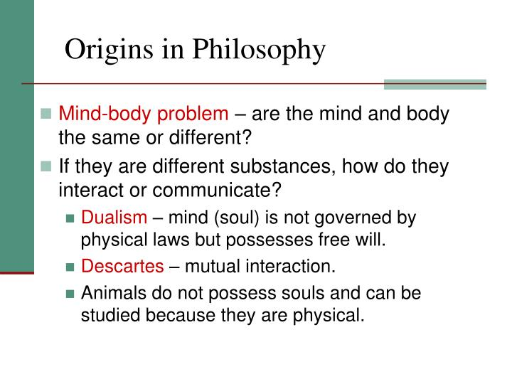 Origins in Philosophy