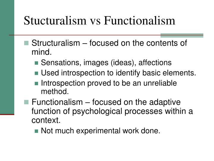 Stucturalism vs Functionalism