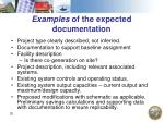 examples of the expected documentation