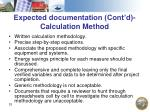expected documentation cont d calculation method