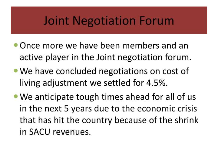 Joint Negotiation Forum