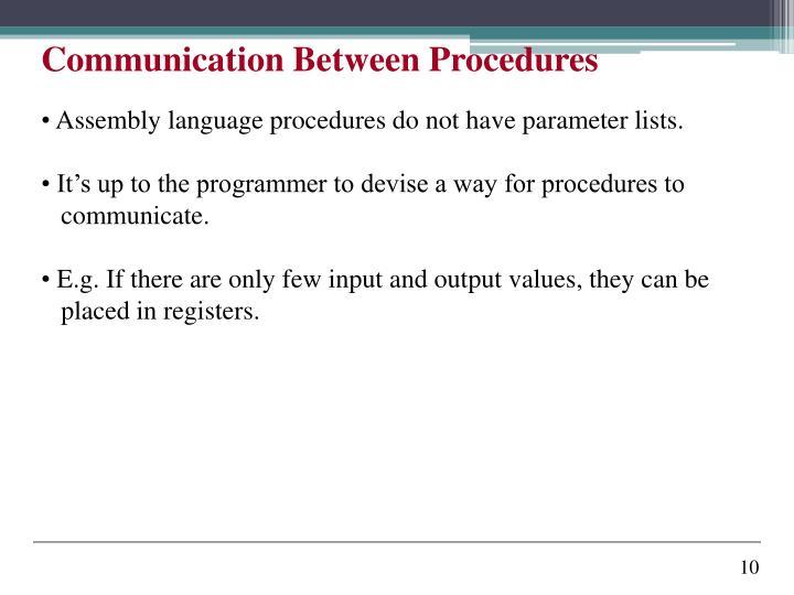 Communication Between Procedures